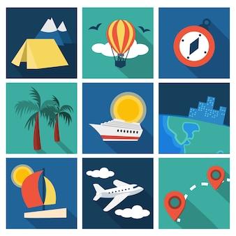 Conjunto de ideas de vacaciones y viajes