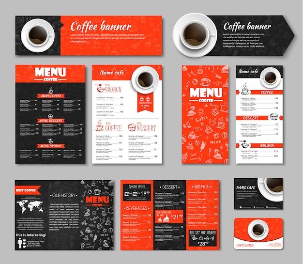 Conjunto de identidad corporativa de café.