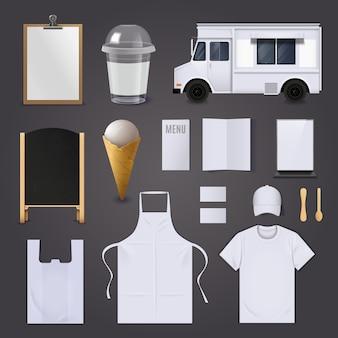 Conjunto de identidad corporativa de helados.