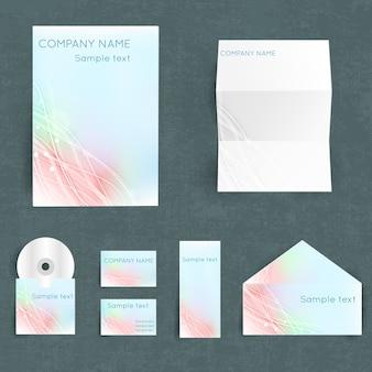 Conjunto de identidad corporativa profesional con el nombre de su empresa en colores pastel