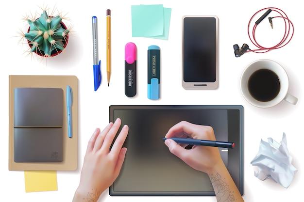 Conjunto de identidad de maqueta de lugar de trabajo de escritorio realista