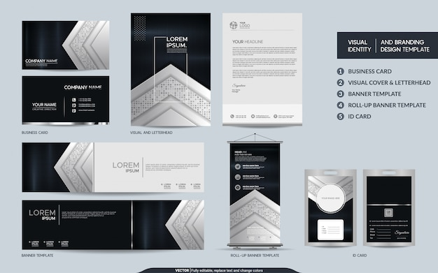 Conjunto de identidad de marca visual estacionaria colorido blanco y negro de lujo.