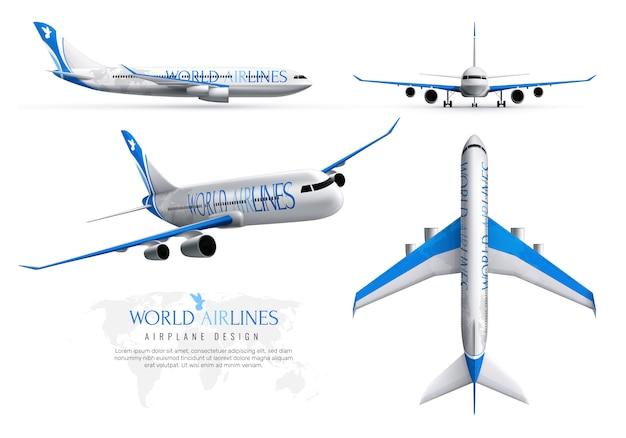 Conjunto de identidad realista de avión de aerolíneas mundiales en varias vistas aisladas