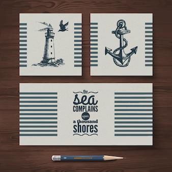 Conjunto de identidad vectorial de pancartas de viaje. plantillas de diseño náutico marino e ilustraciones de bocetos dibujados a mano