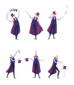 Conjunto de ilusionista de circo. hombre de mago de dibujos animados en capa haciendo malabares o tomando conejo del sombrero de copa aislado en blanco
