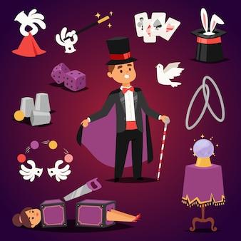 Conjunto ilusionista de mago.