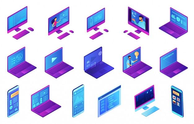 Conjunto de ilustración 3d isométrica de dispositivos electrónicos.