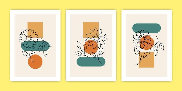 Conjunto de ilustración abstracta de carteles de flores diversas