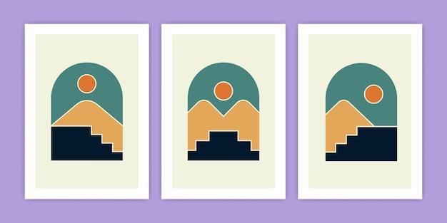Conjunto de ilustración abstracta de montaña