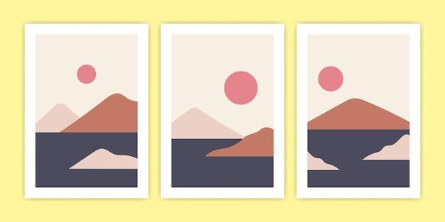 Conjunto de ilustración abstracta del paisaje de la isla
