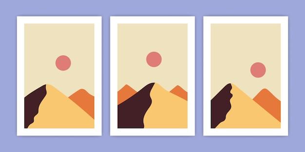 Conjunto de ilustración abstracta del paisaje de la montaña del desierto