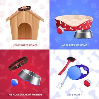 Conjunto de ilustración de accesorios para perros