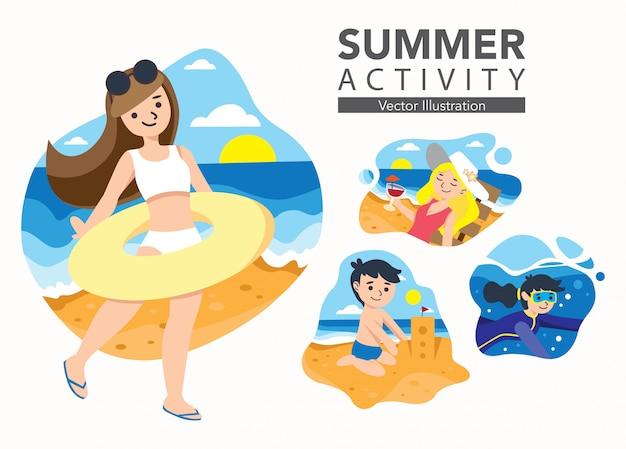 Conjunto de ilustración de actividad de verano