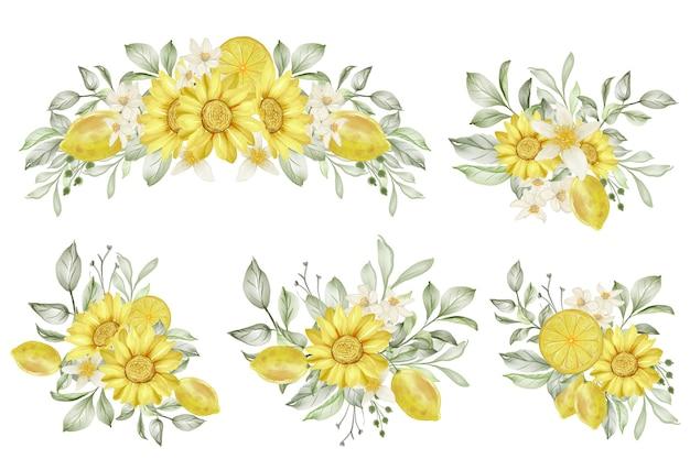 Conjunto de ilustración acuarela de arreglo floral de limón de primavera