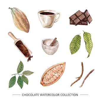 Conjunto de ilustración acuarela chocolate sobre fondo blanco.