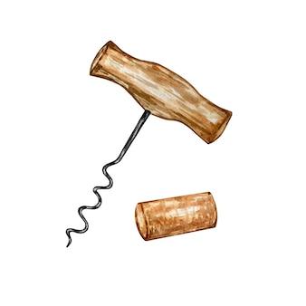 Conjunto de ilustración acuarela de sacacorchos con mango de madera marrón y corcho de vino