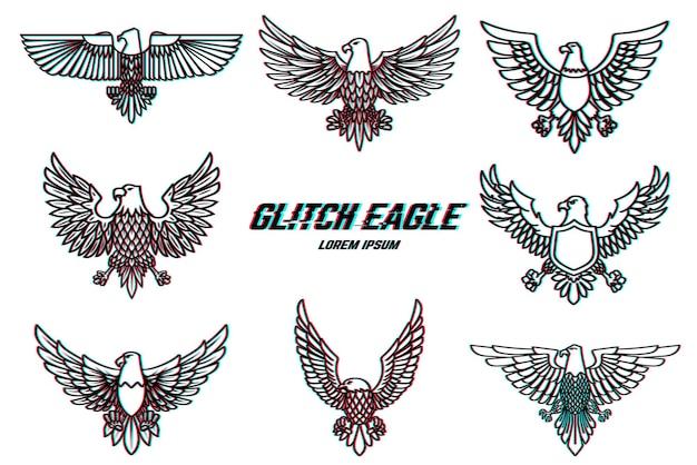 Conjunto de ilustración de águila en estilo de línea con efecto de falla