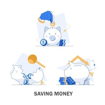 Conjunto de ilustración de ahorro de dinero