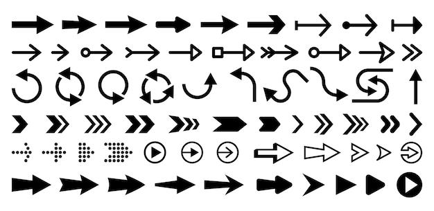Conjunto de ilustración aislada de flechas de movimiento siguiente o derecha