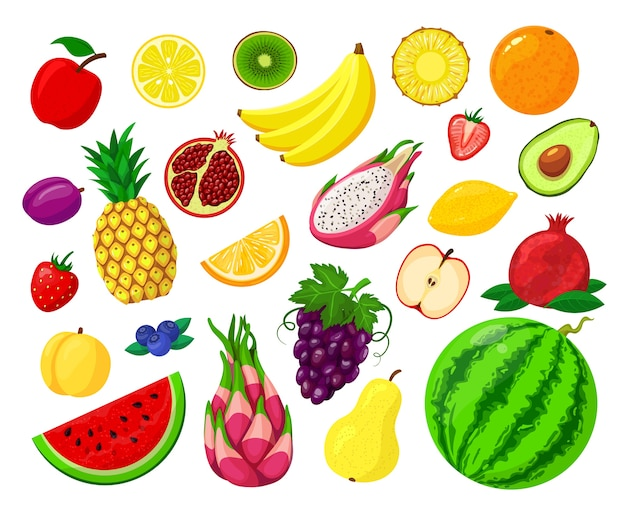 Conjunto de ilustración aislada de frutas dulces