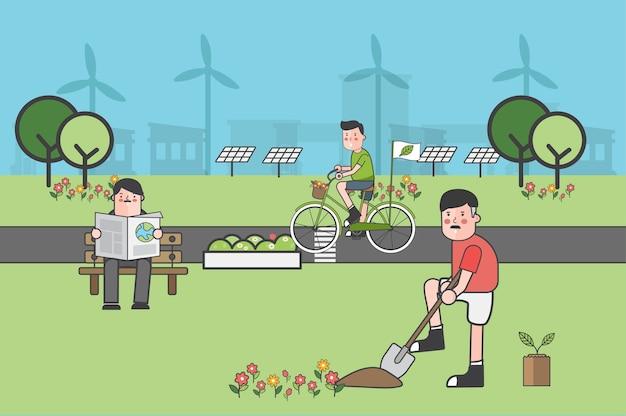 Conjunto de ilustración de ambiental