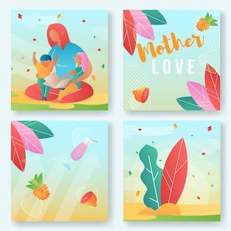 Conjunto de ilustración de amor de madre