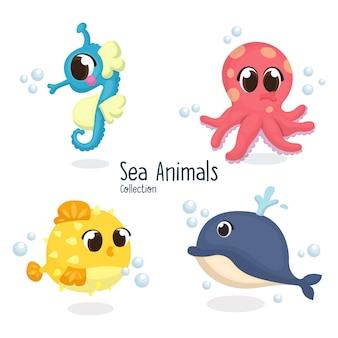 Conjunto de ilustración de animales marinos lindos, caballito de mar, pulpo, pez globo, ballena en dibujos animados
