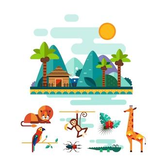 Conjunto de ilustración de animales tropicales, insectos y aves en la selva