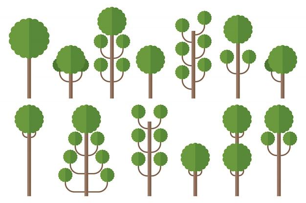 Conjunto de ilustración de árboles verdes aislado en blanco