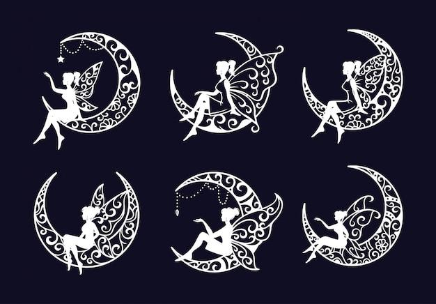Conjunto de ilustración de archivo de corte de hadas y luna creciente