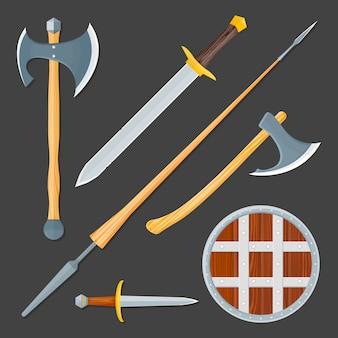 Conjunto de ilustración de arma fría medieval