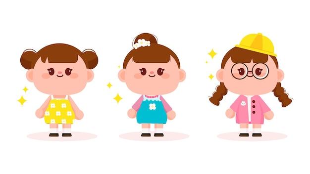 Conjunto de ilustración de arte de dibujos animados de personaje de niña linda