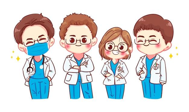 Conjunto de ilustración de arte de dibujos animados de personajes de médicos