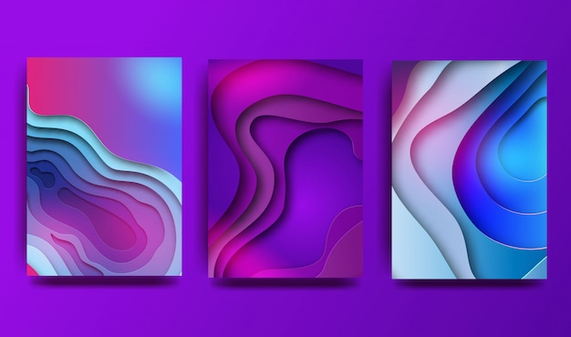 Conjunto de ilustración de arte de papel 3d de color abstracto a4. colores de contraste.