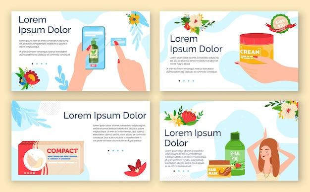 Conjunto de ilustración de artículos de higiene de cosméticos.