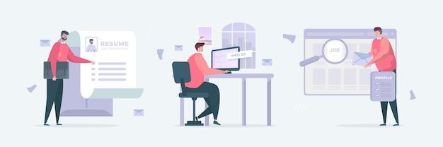 Conjunto de ilustración de autónomo en busca de un nuevo trabajo con concepto de documento de aplicación