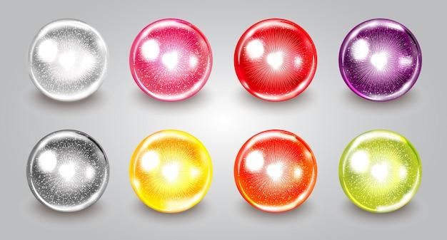 Conjunto de ilustración de banner de perla de vitamina colágeno