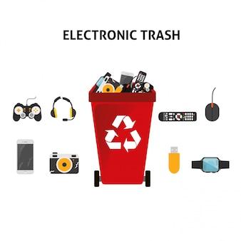 Conjunto de ilustración de basura electrónica de reciclaje