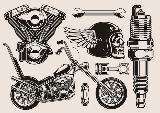 Conjunto de ilustración en blanco y negro para el tema del motorista