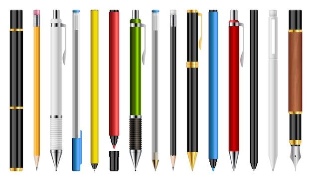 Conjunto de ilustración de bolígrafos, lápices y marcadores