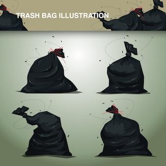 Conjunto de ilustración de bolsas de basura de plástico