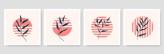 Conjunto de ilustración botánica minimalista de moda como composiciones de arte de línea abstracta con hojas, póster de arte de pared moderno