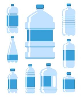 Conjunto de ilustración de botella de agua de plástico