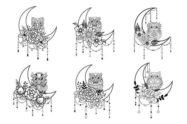 Conjunto de ilustración de búho y luna creciente