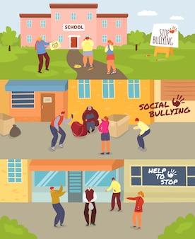 Conjunto de ilustración de bullying de niños escolares, adolescentes enojados de dibujos animados burlándose de triste niña o niño infeliz, anciano, problema social de burla