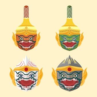 Conjunto de ilustración de cabeza de mono tailandés khon