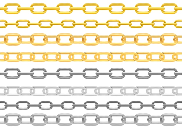 Conjunto de ilustración de cadena de metal realista