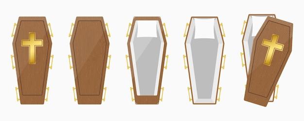 Conjunto de ilustración de caja de ataúdes de madera