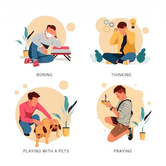Conjunto de ilustración del carácter de la actividad del hombre, el concepto de diseño plano
