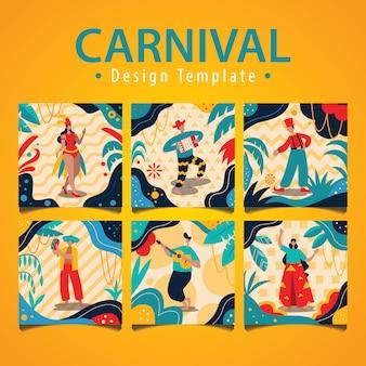 Conjunto de ilustración de carnaval brasileño